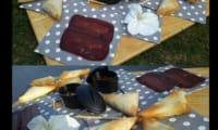 Samoussas au rondelé aux noix, poire, noix de boeuf séchée et basilic
