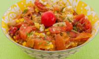 Salade de tomates à la truite fumée et aux coeurs de palmier