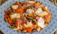 Poêlée de potimarron et cèpes au jambon de Parme et à la scamorza