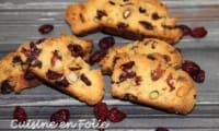 Biscottis à la farine de maïs, cranberries et fruits secs