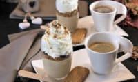 Mousse café Liégeois, croustillant spéculoos chocolat et noisettes caramélisées