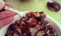 Crumble châtaignes, chocolat aux pommes