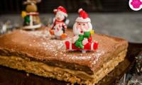 Entremet au chocolat et praliné aux noisettes sur base biscuitée