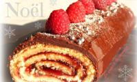 Bûche framboises - chocolat