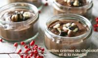 Petites crèmes végétales au chocolat et à la noisette