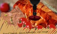 Boeuf braisé, sauce tomate au vin rouge