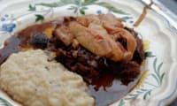 Joue de boeuf confite et foie gras poêlé