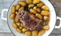 Rôti de porc sauce soja et ses pommes de terre grenailles en cocotte