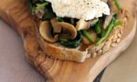 Tartine d'épinards, champignons et fromage de brebis