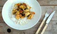 Poêlée de poulet, merguez un rien orientale aux courgettes, poivrons