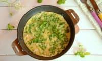 Omelette au cresson et oignons nouveaux