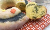 Gâteau au citron et pavot, en cœur