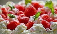 Gâteau à la ricotta parfumé à la badiane et garni de fraises et chantilly