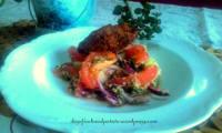 Kibbé mariné au rhum et salade à la sauce menthe-citron