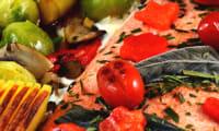 Filet de saumon au four, légumes sautés