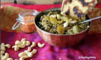 Dhal aux épinards, raisins et noix de cajou