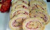 Roulé de courgettes jaunes au jambon et fromage