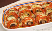 Gratin de macaroni au jambon, tomates, champignons et mozzarella