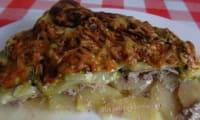Gratin de courgettes et pommes de terre au boeuf et bacon