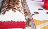 Bûche glacée coco, chocolat et framboise