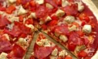Tortipizza au poulet cajun, poivron et chorizo