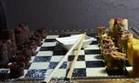 Échiquier de la chandeleur avec pions en crêpes