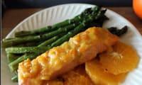 Saumon laqué à la marmelade de clémentines corses , orange et moutarde douce
