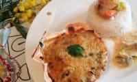 Saint-Jacques gratinées aux champignons