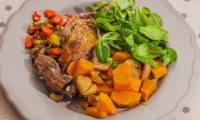 Canard aux légumes d'hiver, patates douces et châtaignes