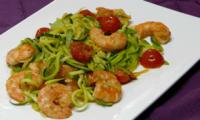Spaghettis de courgettes aux crevettes
