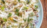 Carpaccio de fenouil, sumac et pistaches