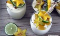 Mousse de mangue et brochette de fruits exotiques