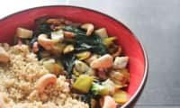 Quinoa, fondue de poireaux et épinards
