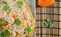 Salade de riz exotique aux crevettes et ananas