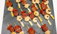Tapas de crevettes chorizo piquillos