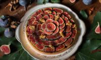 Tarte aux figues de Solliès et aux noix, crème glacée aux feuilles de figuier.