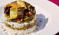 Aubergines et poivrons au riz thaï