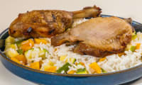 Poulet grillé, riz aux légumes