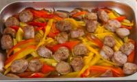 Saucisses aux poivrons et pommes de terre