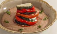 Millefeuilles de légumes, crème de haricots blancs