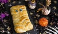 Momie tresse en pâte feuilletée au chocolat et à la guimauve