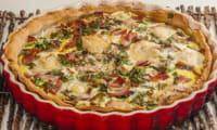 Quiche aux cèpes, bacon et mozzarella