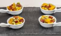 Bouchées de kiwis, oranges et cailles fumées