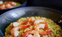 Risotto aux crevettes et curcuma.