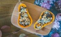 Courge butternut farcie aux champignons et bleu
