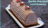 Bûche au chocolat insert framboise