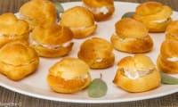 Choux salés au gorgonzola, ricotta et poires