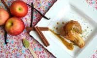 Pommes confites à la cannelle, vanille et purée d'amande