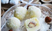 Truffes chocolat blanc, noix de coco au coeur noisette