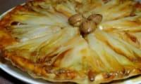 Tatin d'endives, châtaignes, pomme et chèvre